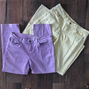 Two Pairs DKNY Capris Size 8 Purple Yellow